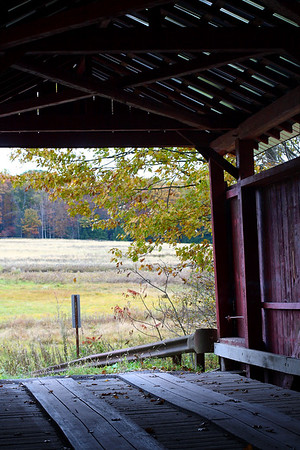 "IMG#2481 Looking out to Greenwood Township from inside ""Sam Eckman Bridge"" located on Little Fishing Creek, Columbia county Pennsylvania. October 2009"