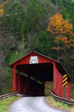 "IMG#2478 Sam Eckman Bridge bult in 1876 by Joseph Redline for $498.00. It spans ""Little Fishing Creek"" and connects Pine and Greenwood Townships located in Columbia county, Pennsylvania. October 2009"