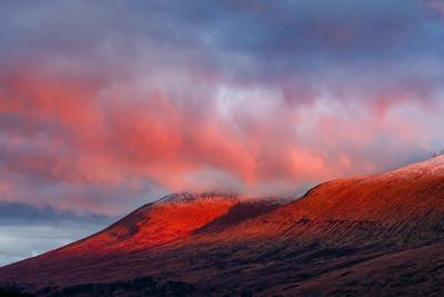 Scottish Highland Hills and Alpenglow