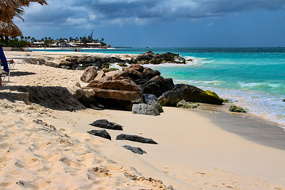 The rough surf at Casa Del Mar removed a lot of the sand from the beach this year...Aruba 2014