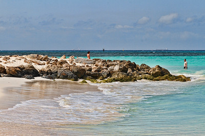 Rough surf uncovered the rocks this year at Casa Del Mar's beach...Aruba 2014