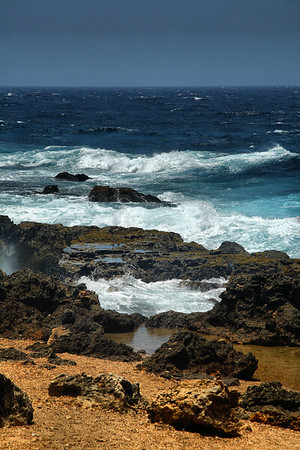 IMG#1005 Rockiness and rough waters...Natural beauty of Aruba's western end 2010