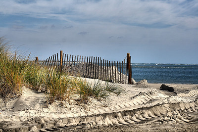 IMG#1455 Wildwood New Jersey beach 2009 following a late summer storm.  Much of the sand was reclaimed by the ocean. Recovery efforts  are evident in the large tire tracks left by excavation equipment used to replenish the sand.