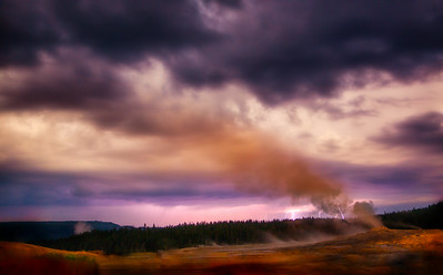 Lightning Strikes Near Old Faithful, Yellowstone National Park