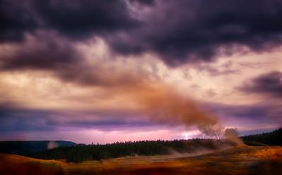 Lightning Strikes Near Old Faithful, Yellowstone National Park