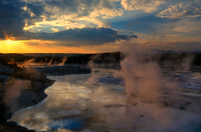 Late in the day at Norris Geyser Basin, Yellowstone National Park, Wyoming, USA.