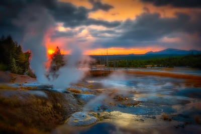 Sunset Sky Over Norris Geyser Basin, Yellowstone National Park