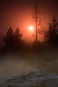 A rising sun through geyser steam, Yellowstone National Park, Wyoming, USA.