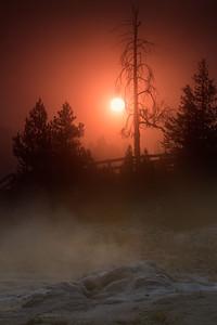 A rising sun through geyser steam, Yellowstone National Park, Wyoming, USA.