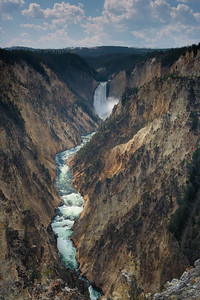 Yellowstone River and Lower Yellowstone Fall, Grand Canyon of the Yellowstone, Yellowstone National Park, Wyoming, USA.