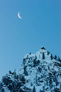 Crescent Moon Over Cathedral Spire