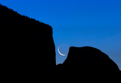 Crescent Moon Between El Capitan and Half Dome