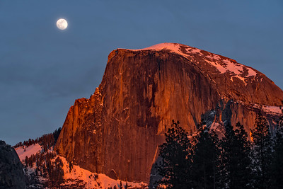 Alpenglow and Moonrise Over Half Dome
