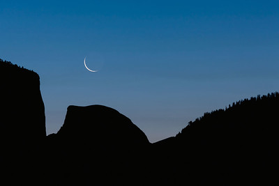 Crescent Moon Over Half Dome