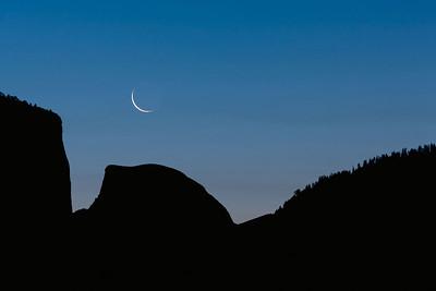 Crescent Moon Over Half Dome