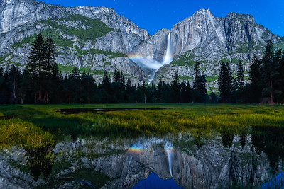 Yosemite Falls Moonbow and Reflection