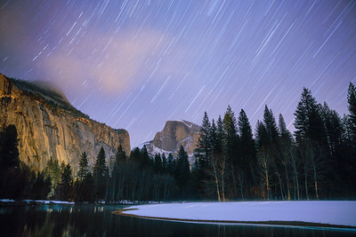 Star Trails Over Half Dome