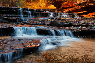 Arch Angel Falls, North Creek, Zion National Park, Utah, USA.