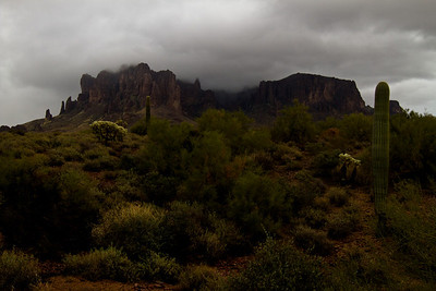 Superstition Mountain in the clouds