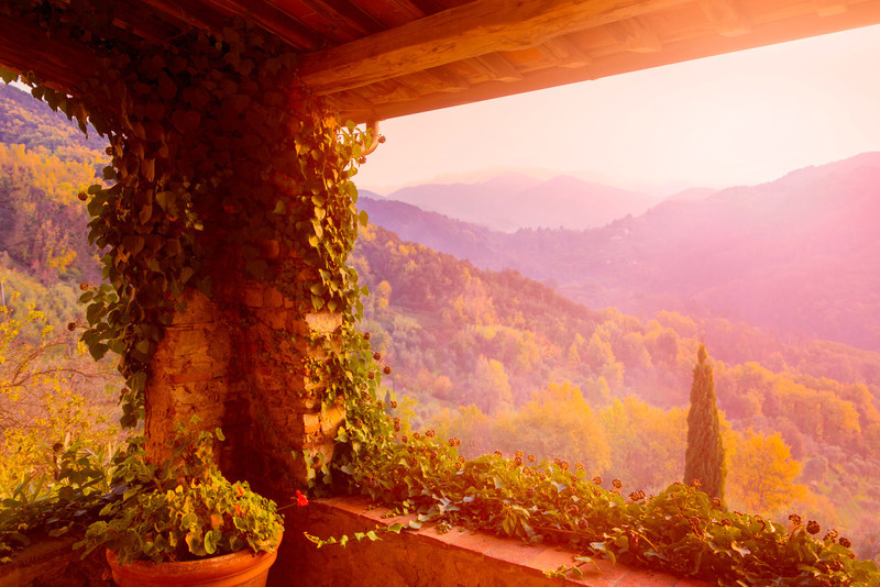 Tuscan balcony view,
