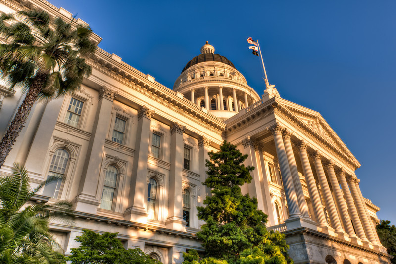 California Capitol Lit by Setting Sun