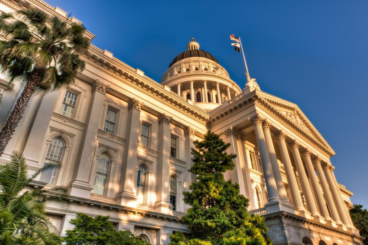 California Capitol Lit by Setting Sun