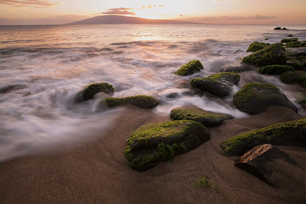 Waves lap at shoreline, Hanakao'o Beach, Maui