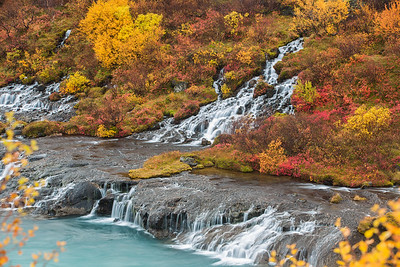 Autumn at Hraunfossar waterfall, West Iceland