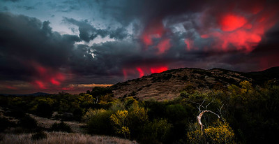 """Kwaapaay Sunset""  Mount Kwaapaay in the Mission Trails Regional Park is set ablaze by a brilliant December sunset."