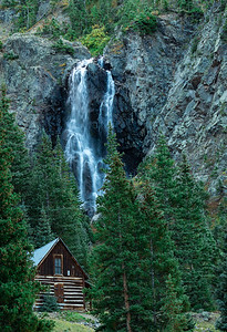 Cabin and Waterfall