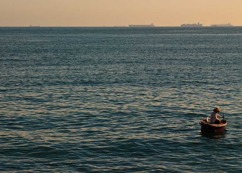 Fisherman just offshore from Stanley
