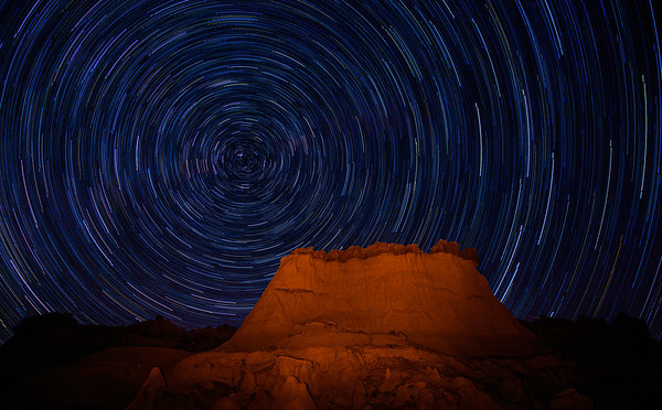 Star Trails Over Butte