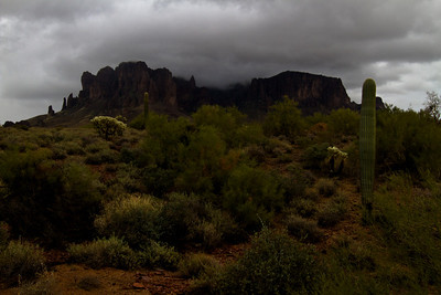 Superstition Mountain in the clouds III