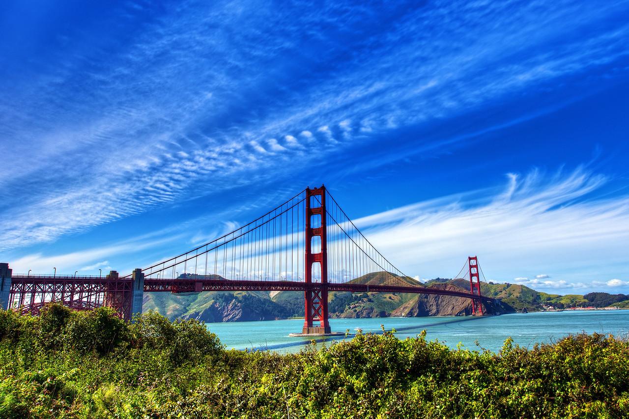 Golden Gate Bridge Under a Blue Sky