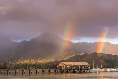 Double Rainbow to Start the Day! Hanalei Pier @ Sunrise Hanalei Bay, Kauai, Hi. August 2012