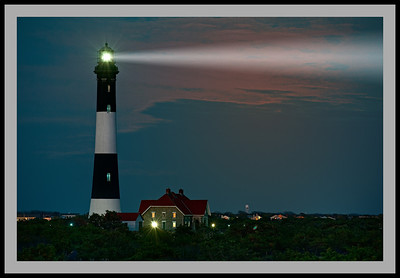 Fire Island Lighthouse at sunset.