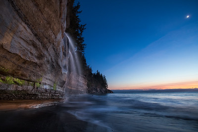 Mystic Beach Moonlit Waterfall