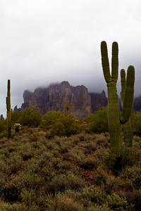 Superstition Mountain in cloud
