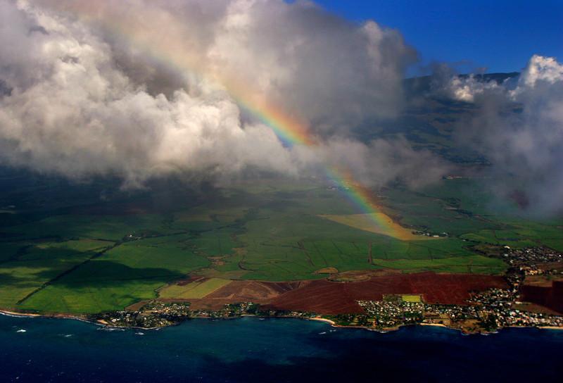 Aerial Rainbow - Paia, Maui Hawaii