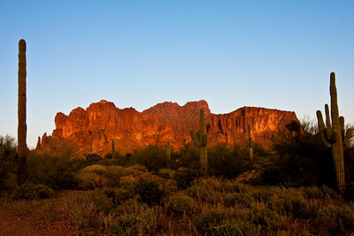 Clear Superstition Mountain at sunset