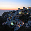 Sunset and view of the village of Oia.