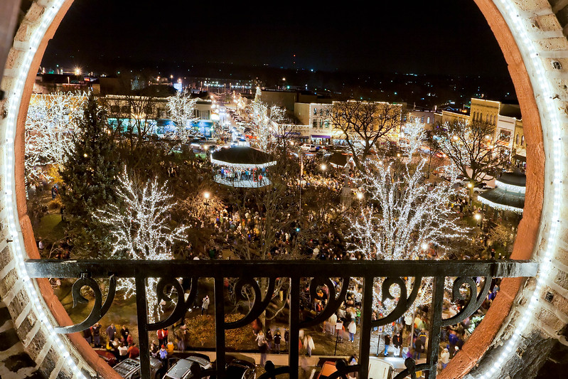 2011 Woodstock,IL Lighting of the Square.<br /> Taken from the bell tower of the Opera House.