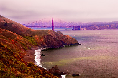 Golden Gate Bridge and San Francisco viewed from the Marin Headlands on a foggy day