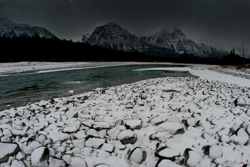 Mountain scenery and Athabasca river, Jasper National Park, canada.