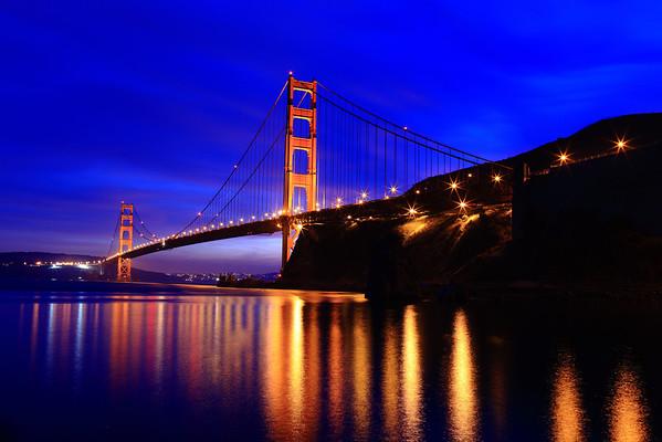 Golden Gate Bridge at sunset from Marin, CA.