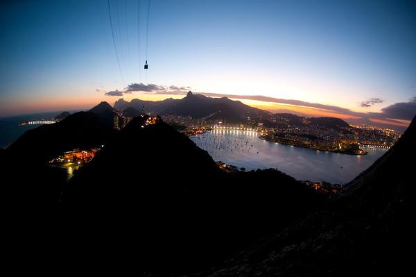 The beautiful city of Rio de Janeiro at night, view from the top of Pan de Azucar