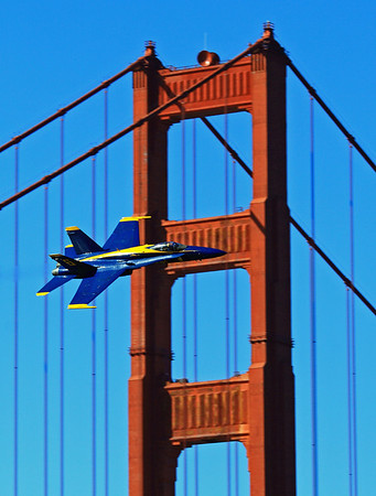 U.S. Navy Blue Angels takes it flight across the Golden Gate Bridge.