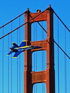 U.S. Navy Blue Angels takes it flight across the Golden Gate Bridge.
