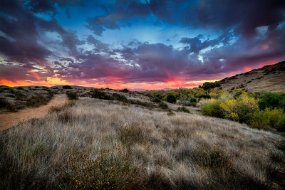 """""""Sunset Trail""""  A winter sunset in San Diego, California. Taken along the San Diego River in Mission Trails Regional Park."""