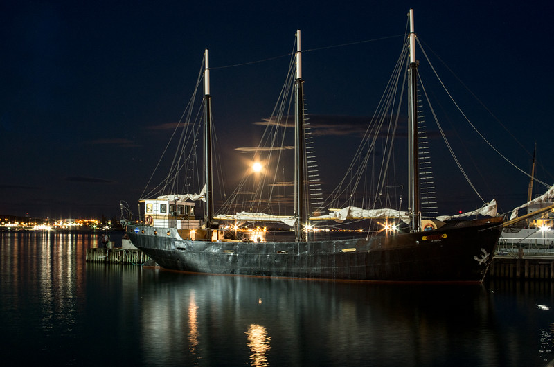 Moon Rise over the Tall Ship Silva